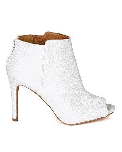 Qupid BG94 Women Crocodile Leatherette Open Toe Stiletto Heel Bootie - White (Size: 8.0)