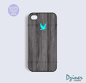 iPhone 5c Tough Case - Dark Grey Wood Print Turquoise Bird iPhone Cover