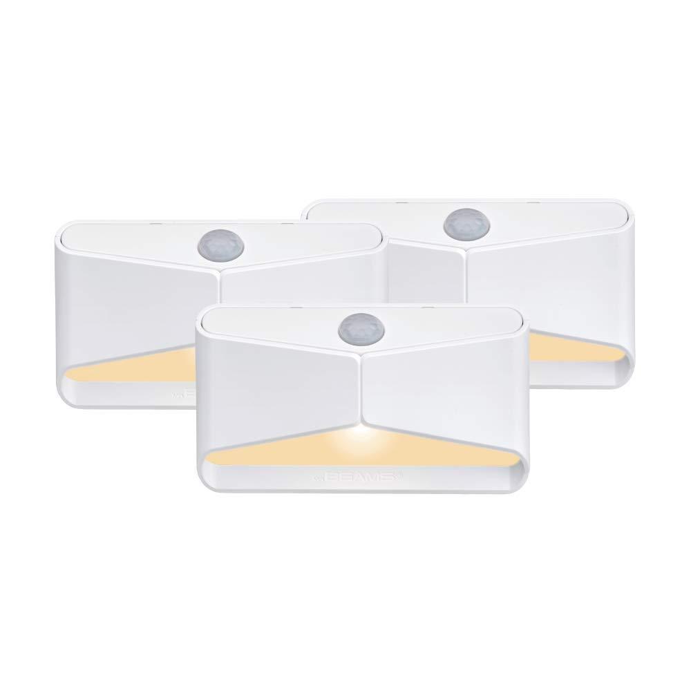 Mr Beams MB710A-WHT-03-00 Amber LED Night Light, White, 3 Each