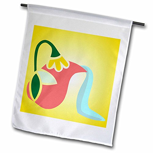 3dRose TNMGraphics Food and Drink - Flowered Greek Pitcher Pouring Water - 12 x 18 inch Garden Flag (fl_222927_1)