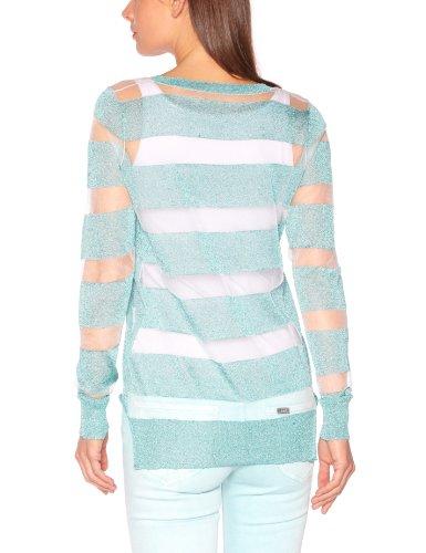 American Retro - Jersey con cuello redondo de manga larga para mujer Azul turquesa