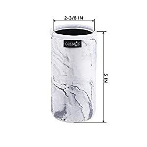 CM Soft Neoprene Slim Can Sleeves Insulators Slim Can Covers for 12 Fluid Ounce Energy Drink & Beer Cans (Marble Pattern (4 Pcs))