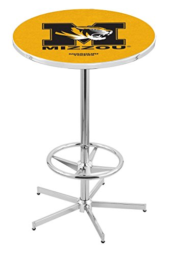 "Holland Bar Stool L216C University Of Missouri Officially Licensed Pub Table, 28"" x 42"", Chrome"