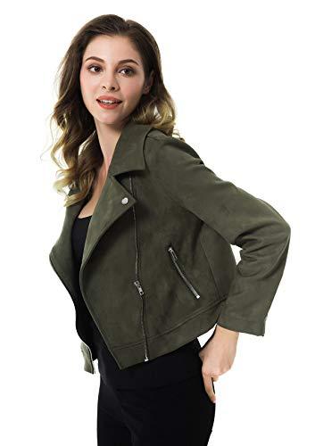 95102012f36e5 Apperloth Women's Faux Suede Biker Jacket Slim Short Winter Coat Zipper  Moto Ladies Jackets Army Green