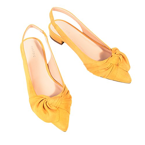 Parfois Lace Slingback Shoes - Women Mustard HYiUNfR