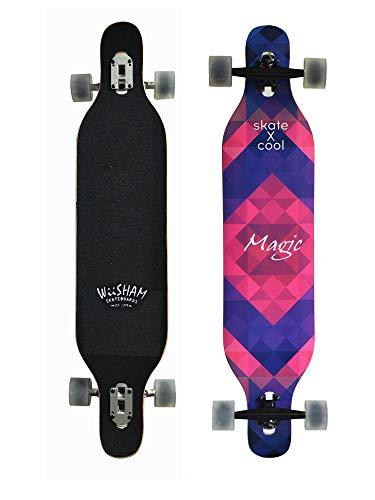 Womens Skateboard Deck - WiiSHAM Professional Speed Downhill Drop Through Complete Longboard Skateboard With Free T-tools …