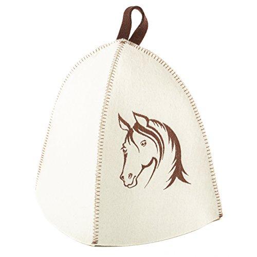 Eva Felt Sauna Hat White Embroidered Horse