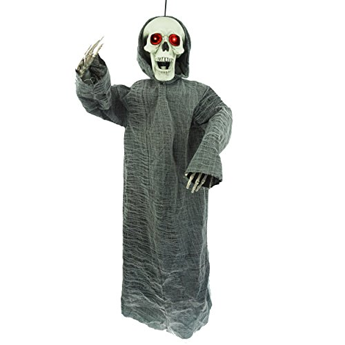 50 inch Animated Hanging Skeletion Ghost Reaper Halloween Decoration by Spooktacular (Animated Ghost)