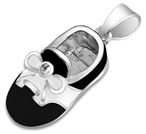 (Black White Saddle Baby Shoe Charm Pendant Necklace Shoe Gift For New Mother Women Engravable 925 Sterling Silver)