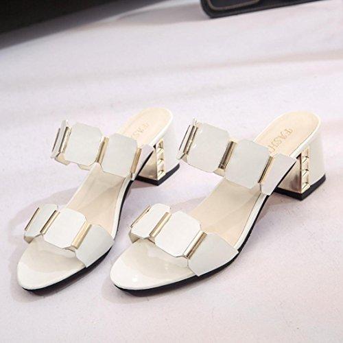 Amlaiworld Women Sandals, Women Fish Mouth Slipper High Heels Sandals Antiskid Toes Party Shoes Flip Flops White