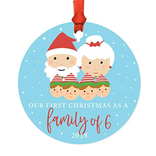 Andaz Press Family Metal Christmas Ornament, Our First Christmas as a Family of Six 2019, Santa and Mrs. Claus with Elf, 1-Pack, Includes Ribbon and Gift Bag, Newborn New Baby Mom Dad Xmas Present -  APP12149