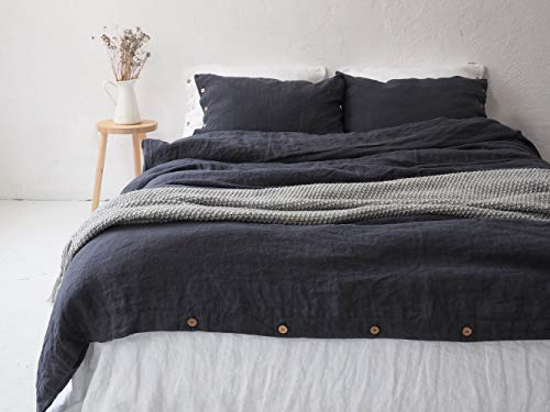 LINEN DUVET COVER with coconut buttons | Charcoal color | King size, queen size, twin size duvet cover.
