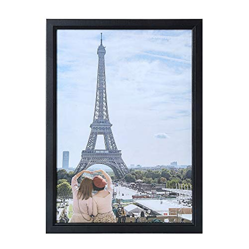 PAXNOK A4 Black Picture Frame - Display 8.27 × 11.69 inch Certificates and Pictures - Glass Window - with Stand and Wall Hanging Option - Wall Anchors Included