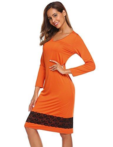ADOME Mujer Pijama Camisón Ropa de Casa Dormir Encaje Manga Larga Suave Elástico Naranja