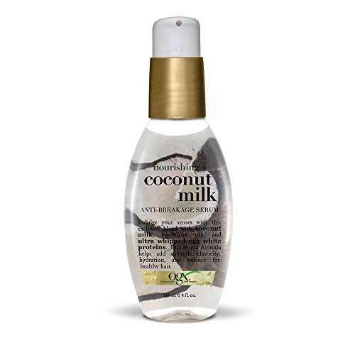 OGX Anti-Breakage Serum Nourishing Coconut Milk, (1) 4 Ounce Pump Bottle, Paraben Free, Sulfate Free, Sustainable Ingredients, Strengthening, Protective, Hydrating - Hydrating Coconut Milk