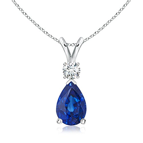 GIA Certified Sapphire Teardrop Pendant with Diamond in 18K White Gold (11.29x7.73x6.17mm Blue (18k Gold Pear Shaped Sapphire)
