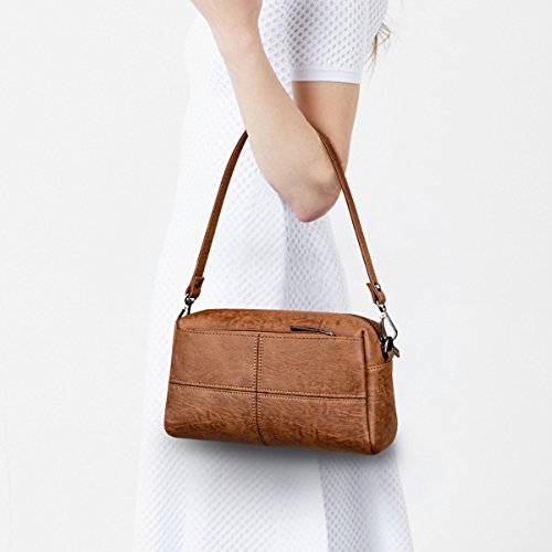 Brown En Crossbody Satchel Zipper Lattice à Bag Bandoulière à Sac Casual Vintage Cuir Tote Main Sac Pu Multicolore Lady Femmes Mini TYqxfwRFP
