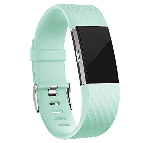 iGK Replacement Bands Compatible for Fitbit Charge 2, Adjustable Replacement Bands with Metal Clasp Special Edition Teal Small