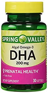 Spring Valley - DHA 200 mg, Plant-Pure Omega-3, 30 Softgels