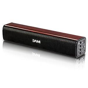 DAMI Soundbar Wireless Bluetooth Speaker with Wooden Case 3D Surround Home Theater (Black)