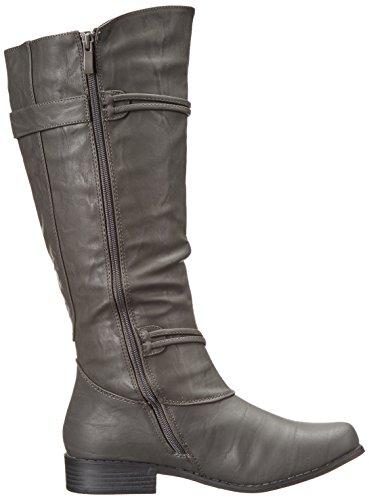 Brinley Co Women's Harley Riding Boot Regular & Wide Calf Grey Wide GOCzNQ