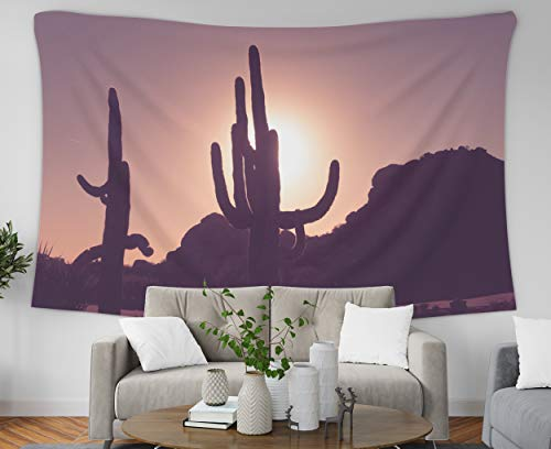 Pamime Hanging Wall Tapestry Boho, Home Decor Tapestry Sun in Scottsdale Arizasaguaro Cactus Trees in Eground Sun Ting Over Dorm Room Bedroom Living Room 80X60 Inches(200X150Cm) Bedspread Inhouse
