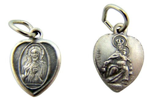 Religious Gifts Silver Toned Base Sacred Heart Our Lady Mt Carmel Scapular Medal Charm, 1/2 Inch