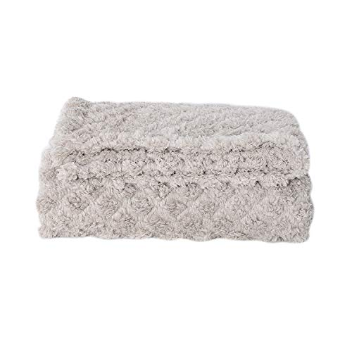 Shop LC Delivering Joy Off White Micro Mink Ulrasonic Quilted Reversable Sherpa Blanket Throw 59X79