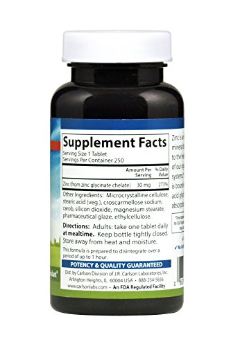 Carlson - Chelated Zinc, 30 mg, Chelated Zinc Supplement, Zinc Glycinate Chelate, Superior Absorption, Immune Support & Enzyme Function, Zinc Tablets, Antioxidant, 250 Tablets