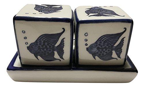 (Blue & White Porcelain Cubes Fish Salt & Pepper)
