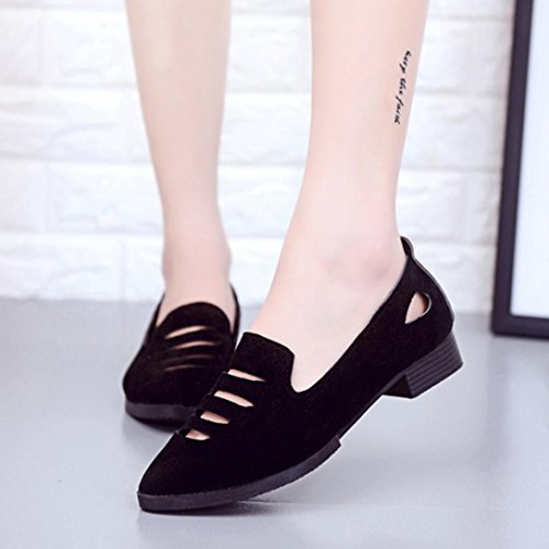 Low Heel Flat Shoes,Women Wedge Sandals Office Shoes Hollow Pointed Toe Wedding Sandals Hemlock (US:7, Black)