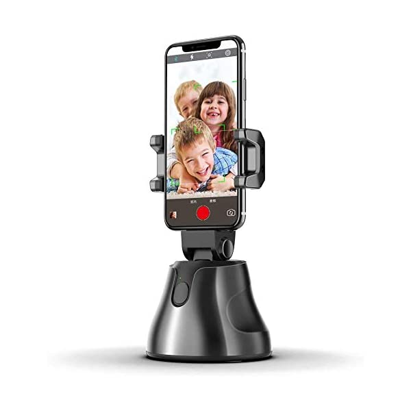 NOYMI Mobile Stands for Video Recording & Camera,360°Rotation Object Tracking,Desktop Gimbal Smartphone Selfile Stick Stand for Phone Mobile Tiktok YouTube Video Shooting(Black) 1