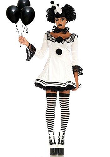 Leg Avenue Women's 3 Pc Pierrot Clown Halloween Costume, White/Black, (Black And White Halloween Costumes For Women)