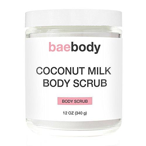Baebody lait de coco gommage: Sel de mer morte, huile d'amande et vitamine E. naturel exfoliant, hydratant pour promouvoir une peau radieuse 12(oz)