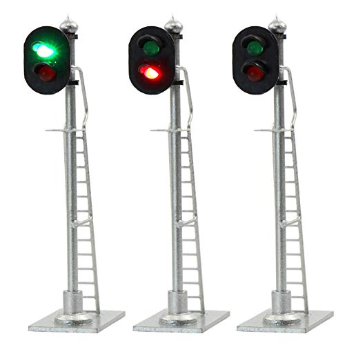 JTD873GR 3PCS Model Railroad Train Signals 2-Lights Block Signal HO Scale 12V Green-Red Traffic lights for Train Layout New from Evemodel