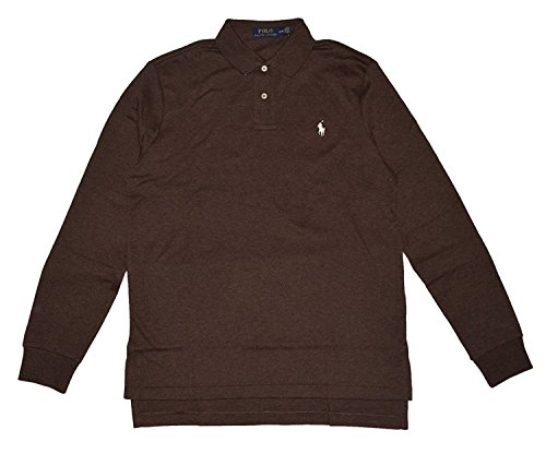 Polo Ralph Lauren Mens Interlock MED-FIT LS Polo Shirt-Alpine Brown-M (Ralph Lauren Alpine)