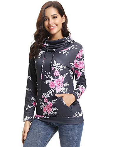 ClothingAtore Women Sweatshirt Casual Cowl Neck Floral Print Long Sleeve Drawstring Tunic Tops (X-Large, Grey) - Drawstring Tunic Top