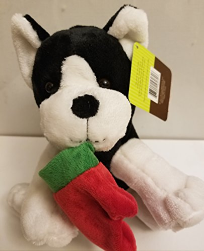 Black White Dog Saint Bernard Boston Terrier w/holiday stocking Plush Stuffed Animal Measures - Boston Target