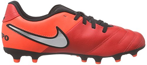 Nike JR Tiempo Rio Iii FG, Botas de Fútbol para Niños, UK Naranja / Plateado / Rojo (Lt Crmsn / Mtllc Slvr-Ttl Crmsn)
