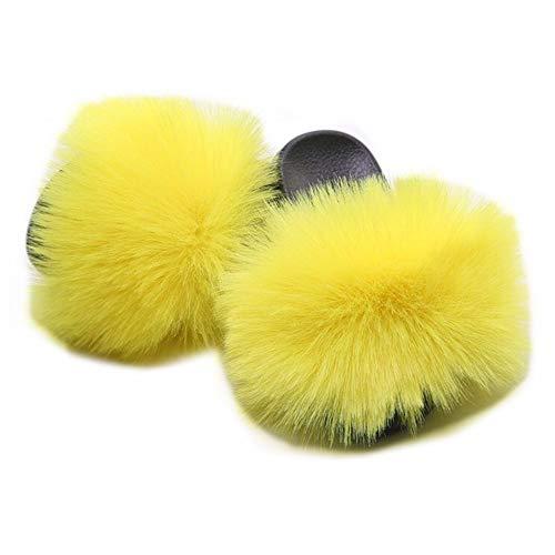 LSWJS Women's Vegan Faux Fur Slippers Fuzzy Slides Fluffy Sandals Open Toe Indoor Outdoor (10, Yellow)