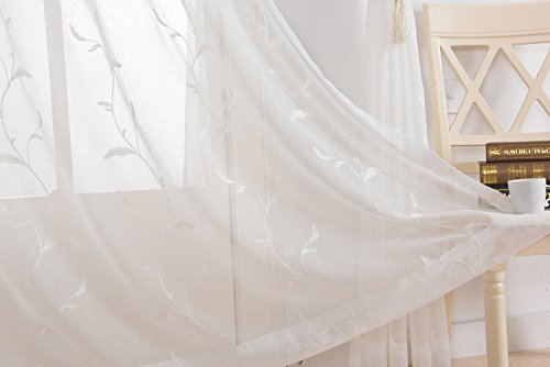 DEZENE Embroidered Leaf Pattern Sheer Voile Curtains for Living Room Valances with Windows Doors,54 W x 84 L,Grommets Top,1 Panel (Leaves Scarf Lace)