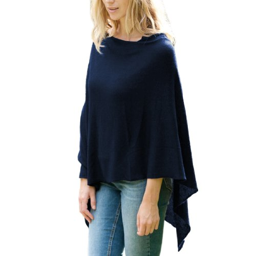 Parisbonbon Women's 100% Cashmere Shawl-Style Poncho Color Midnight Blue Size XL by Parisbonbon