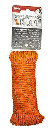 Koch Industries 5180504 Diamond Braid Polypropylene Rope, 5/32 by 50', Reflective Orange ()