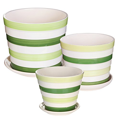 Decorative Striped Ceramic Planters Container