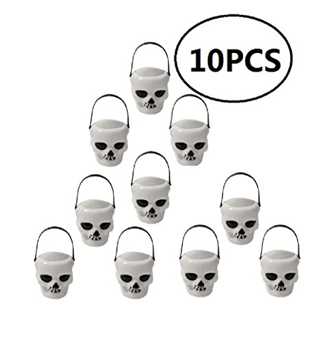 EBTOYS 10pcs Mini Cauldron Skull Miniature Candy Kettles Plastic Candy Holders for Halloween Party Supplies - White -