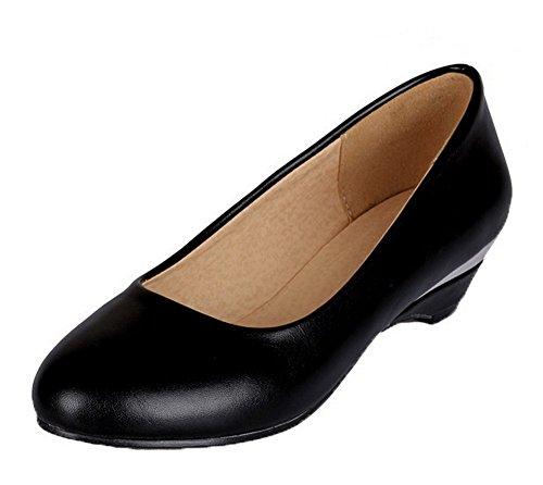 Amoonyfashion Damesschoenen Met Lage Hak Microfiber Stevige Pumps-schoenen Zwart