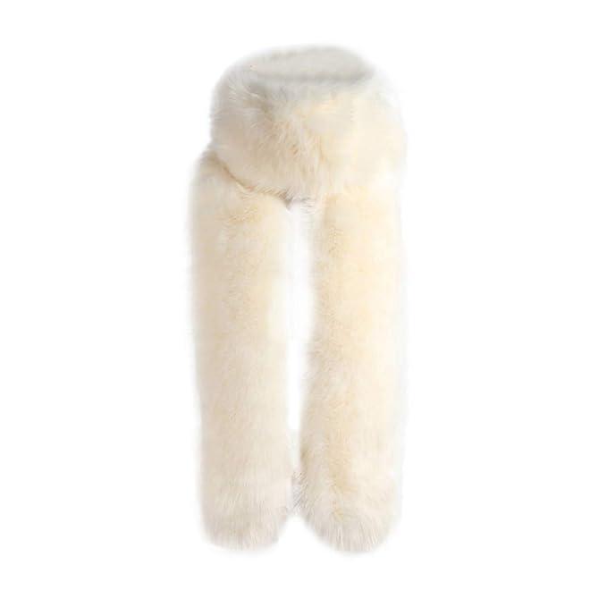 Cinnamou_mujer Abrigo de Cuello Largo Estolas de Fiesta Pilo Sintetico de Cuello de Pelo Bufanda para Mujeres Bodas Novia: Amazon.es: Ropa y accesorios