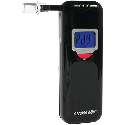 AlcoHAWK Elite Slim Breathalyzer, Semi-Conductor Sensor Breath Alcohol Tester Portable Personal use Alcohol Detector, Accurate and Fast Results, BAC Tracker Digital LCD Screen Includes 3 Mouthpieces by AlcoHawk
