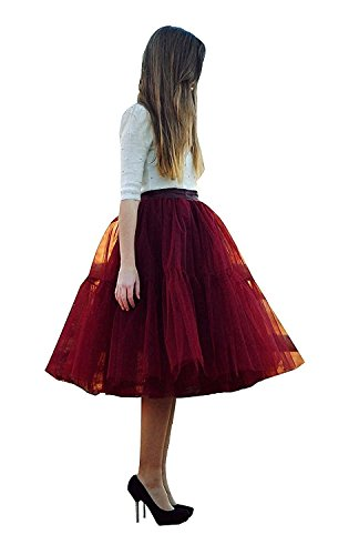 SCFL adulto de lujo suave de la gasa de la enagua de tul falda del tutú de las mujeres del tutú del ballet del traje de la danza de múltiples capas de la enagua de la falda hinchada vinotinto