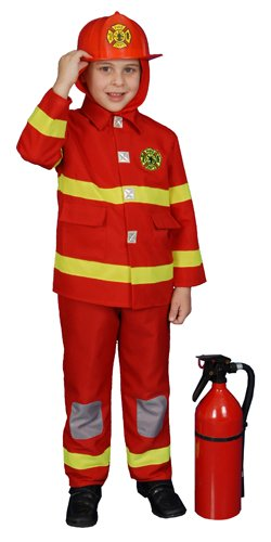 Dress Up America Fire Fighter (red) Boy Toddler Fireman Costume Size 4T -